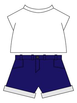 Navy shorts on white T