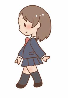 School girl walking pose