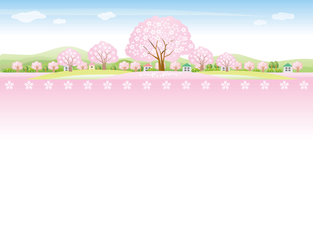 The background of the scenery where the cherry blossom trees can be seen