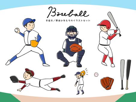 野球少年たちのイラストセット