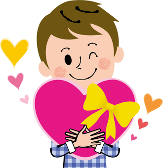 Men with pink ribbon heart