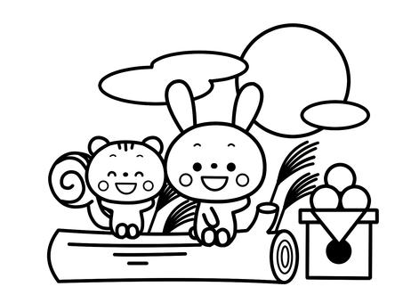 달맞이를하는 토끼와 다람쥐 흑백