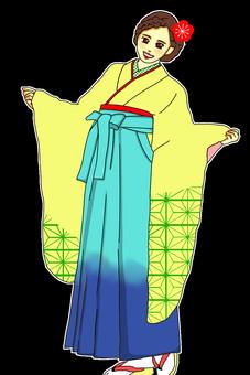 畢業典禮Furisode袖hakama