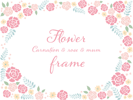 Carnation and rose flower frame .2