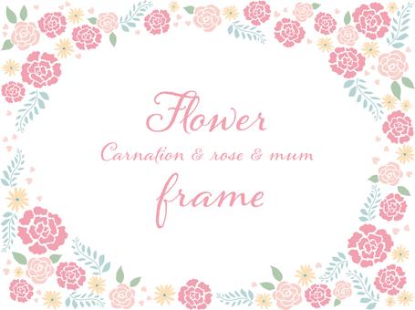 康乃馨和玫瑰花朵框架2