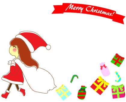 Christmas girl frame