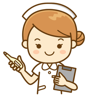 A nurse with a thermometer