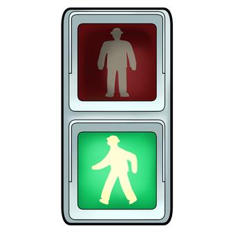 Pedestrian traffic light (blue lit)