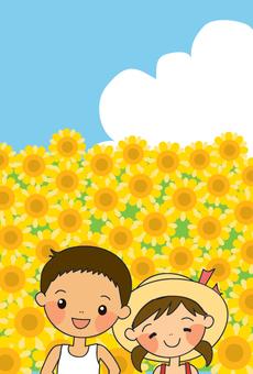向日葵和兒童卡