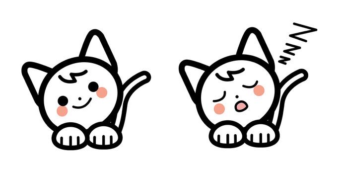 단순 고양이 캐릭터 세트 - 낮잠