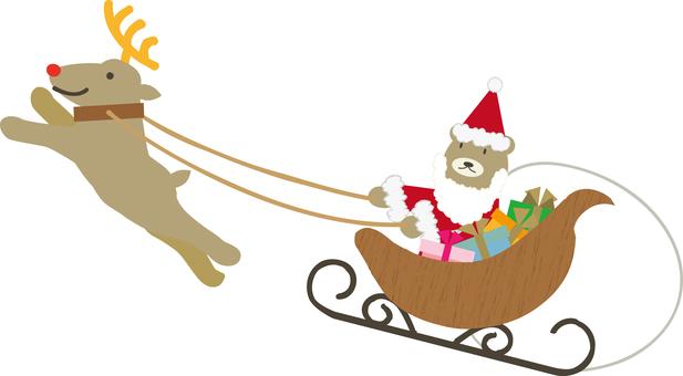 Christmas material 13 (Sled and bear)