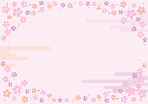 Spring cherry petal frame ☆ Japanese style background picture ☆