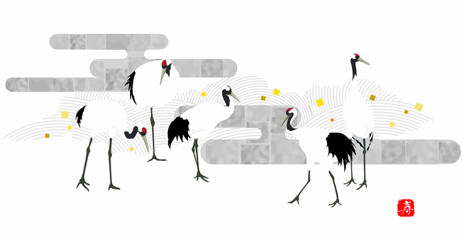 Red-crowned cranes material