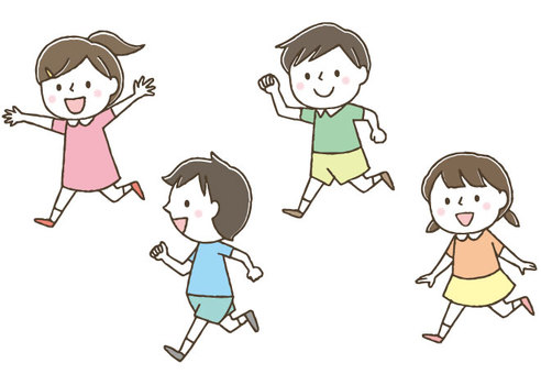 Cute children who run well / Hand drawn
