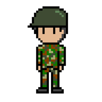 Dot picture of a male self-defense officer in camouflage clothing