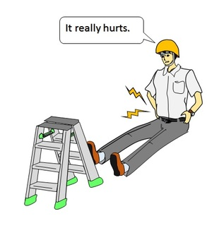Workers who fell down from the stepladder