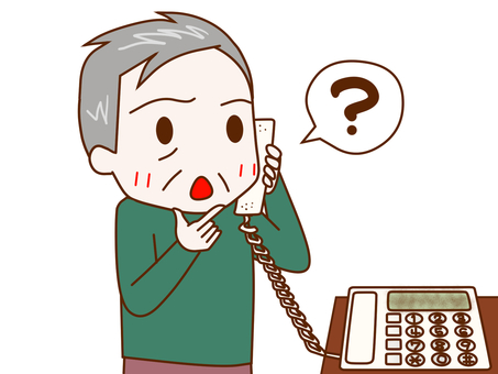 An older man with questions over the phone