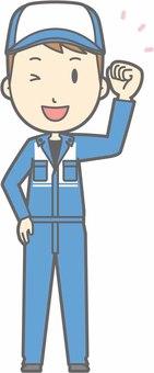 Mechanic male a - guts wink - whole body