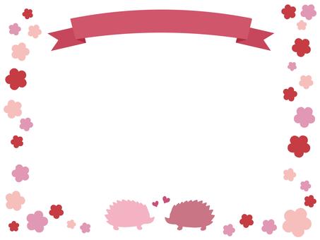 Ribbon and Hedgehog Frame Flower Pink