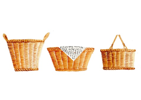 Basketbasket hand-painted watercolor picture