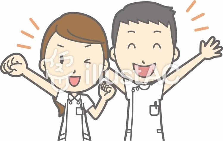 看護師男女-頑張れ-バストのイラスト