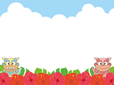 Okinawa frame of Shisa and Hibiscus