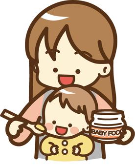 이유식을 먹는 아기