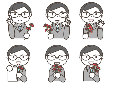 6 patterns of men with carnation