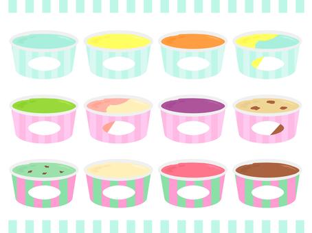 Shimashima cup ice cream set