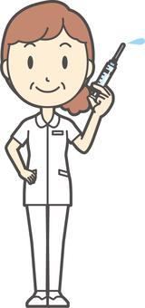 Middle-aged female nurse white coat-298-whole body