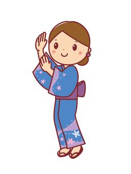Bon dance dance yukata woman illustration