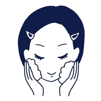 얼굴을 씻는 세안하는 여성
