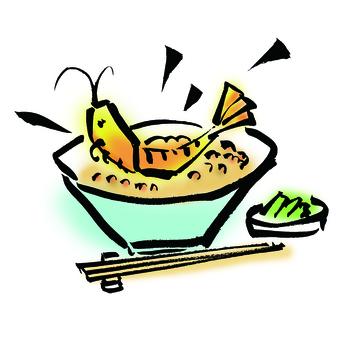 Tempura, tempura on rice