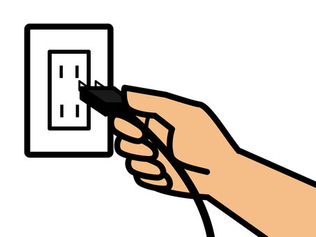 A hand that points to an outlet
