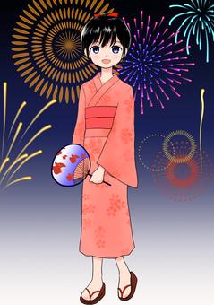 Fireworks and girl in yukata