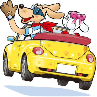 Drive by open car! An illustration