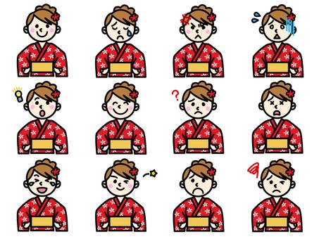 Facial expression set of a girl wearing a yukata