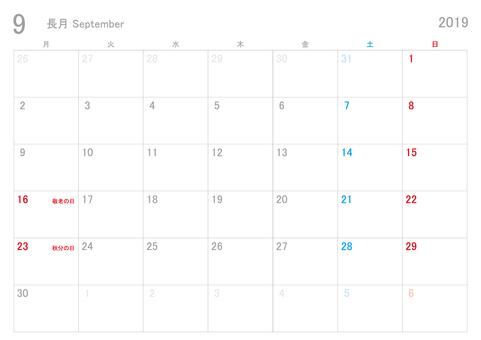 2019年9月カレンダー月曜始まり