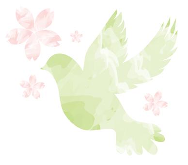春の鳥と桜の水彩風イラスト