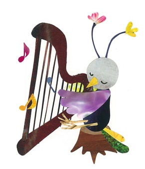 Animals and Musical Instruments Series ~ Birds and Harp ~