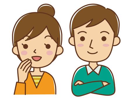 A couple looking diagonally over a couple