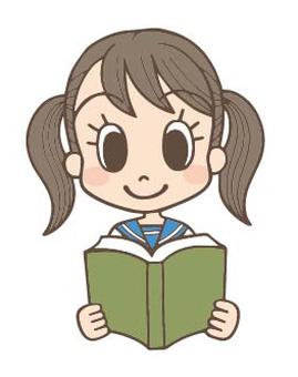Female junior high school student Emi reading book