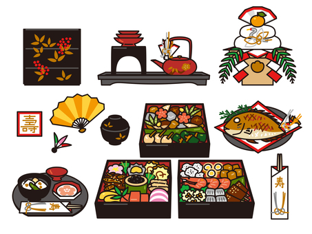 New Year's cuisine and decorate rice paddy set