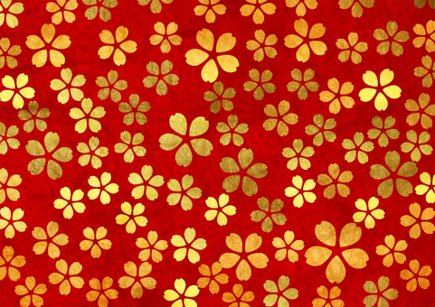 Japanese paper watercolor style gold leaf cherry blossom pattern on red background