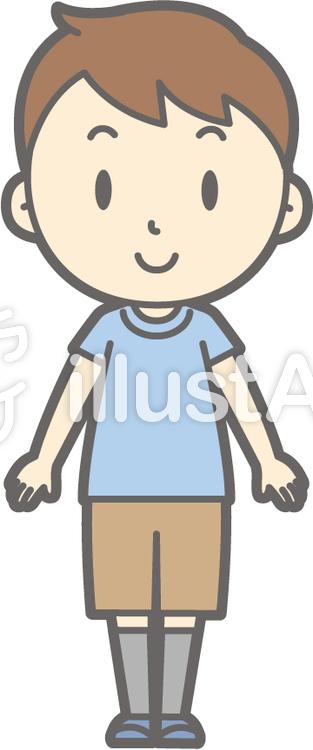 男の子半袖a-正面-全身のイラスト