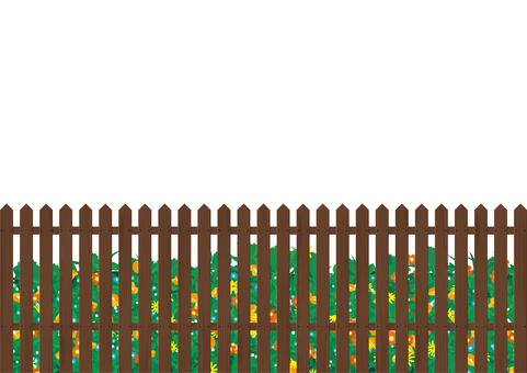 Flowerbed gardening fence fence brown