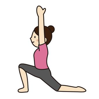 "A woman doing a ""crescent pose"" with yoga"