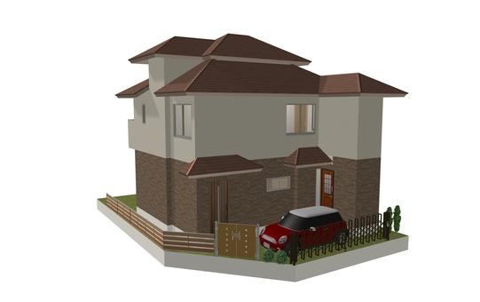 4LDK Floor Plan ① (3-D Cube / Appearance ①)