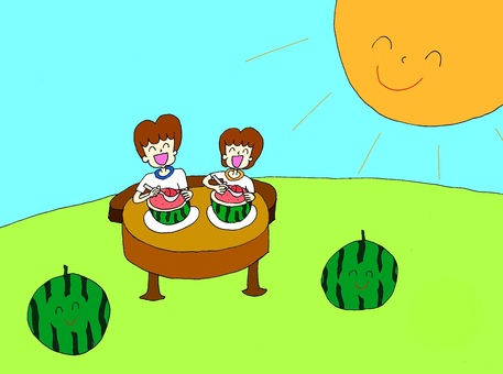 Two people who eat watermelons