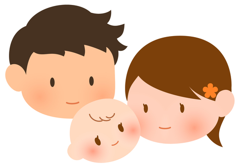 Illustration of baby, mom and dad